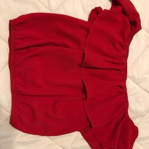 Off the shoulder, red cropped elastic, agaci top